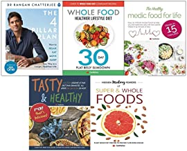Rangan chatterjee 4 pillar plan, whole food healthier lifestyle diet, healthy medic food, tasty and healthy, hidden healing powers 5 books collection set