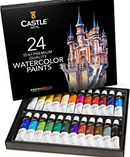 Castle Art Supplies Watercolors Paint Set - 24 Vibrant Colors in Tubes – Quality Paint That is Easy & Convenient to Mix with Great Results. This Set Makes it Super Easy to Enjoy Watercolors