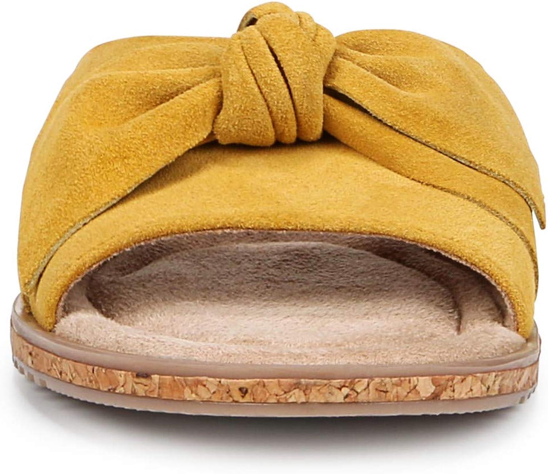 SOUL Naturalizer Women's Wildflower Slide Sandal, Mustard Leather, 5
