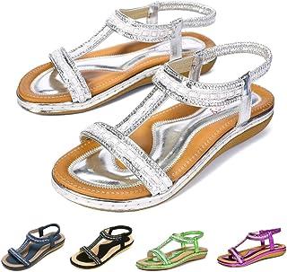 ca95ee0e101974 Gracosy Sandales Femmes Plates, Chaussures Été Nu Pieds à Talons Plats  Claquettes Plage Semelle Compensées