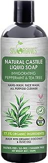 Organic Acne Body Wash -Castile Soap Organic Peppermint Tea Tree by Sky Organics (8oz), Plant Based Liquid Soap and All Purpose Wash, Vegan & Cruelty-Free, Mint & Tea Tree Essential Oils Natural