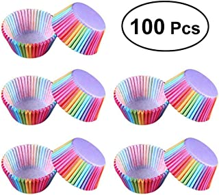 ngzhongtuhengtongjianzhugongchen 100PCS / Set Formas de Pastel de Papel Estilo Arco Iris Cupcake Liner Baking Muffin Box Cup Case Party Cake Decoration Cupcake Paper - Colorido
