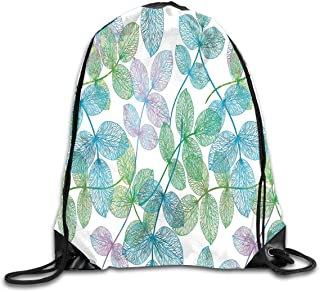 Casinò e attrezzature Floral Decor,Ivy Line like Colored Flowers Leafs and Buds with Striped Background Artwork,Multicolor Soft Satin,5 Liter Capacity,Adjustable String Closure Zaini e borse sportive
