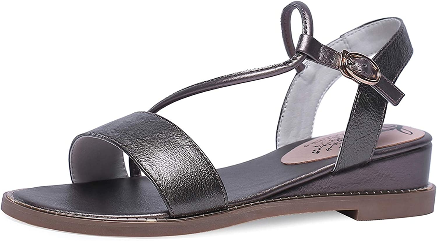 Leather Big Size 31-43 Buckle Open Toe Flat Heels Summer Sandals
