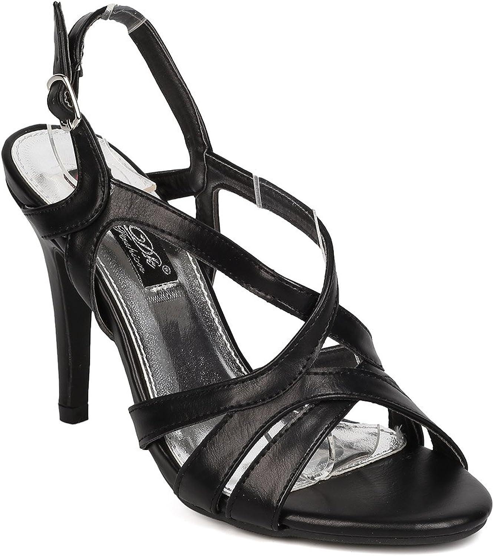 DBDK Women Leatherette Open Toe Strappy Stiletto Slingback Sandal FA95 - Black
