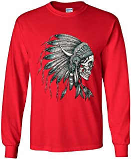 Indian Headdress Skull Long Sleeve T-Shirt Native American Tribe Red XL