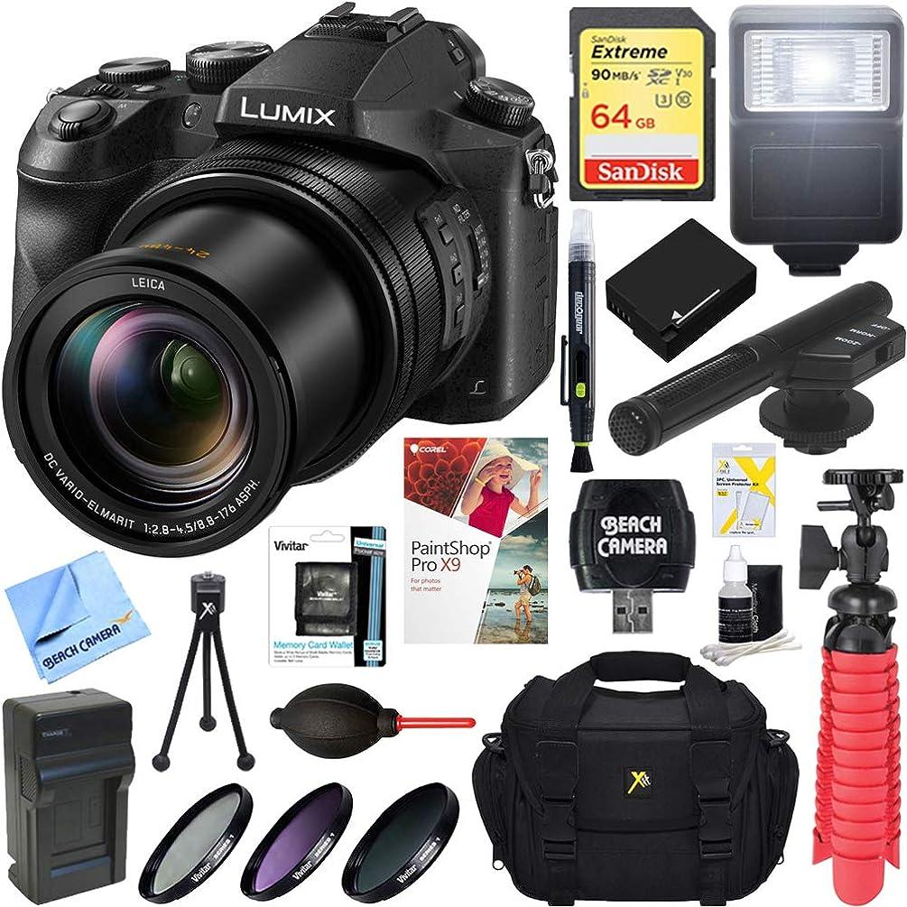 Panasonic LUMIX DMC-FZ2500 20.1 MP 20x F/2.8-4.5 Leica Optical Zoom Digital Camera + MIC-403 Mini Zoom Microphone + 64GB Accessory Bundle