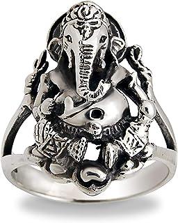 Oxidized 925 Sterling Silver Hindu God Ganesh Ji Handmade Ring For Men, Women Size-4,5,6,7,8,9