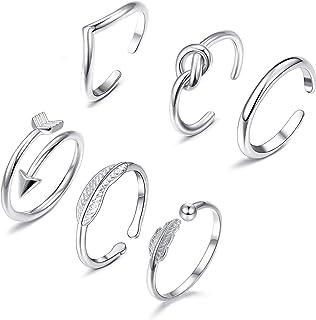 YADOCA 7 Piezas Anillos Mujer Set Anillo Ajustable Infinito Twist Nudo Anillo Vintage Midi Toe Ring para Mujeres Niñas Reg...