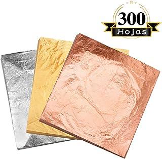 VGSEBA Pan de Oro de Imitación Decorativo para Manualidad Muebles 5.5x5.5pulgadas 300 hojas