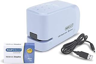 Rapesco 626EL - Grapadora eléctrica, conexión USB o pilas, azul.
