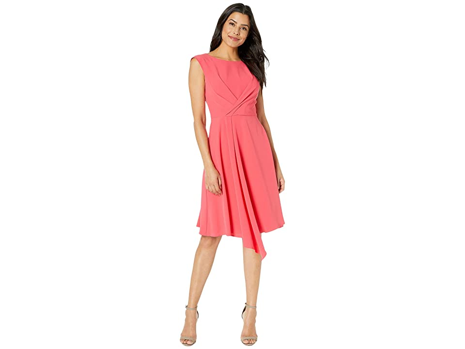 Taylor Cap Sleeve Solid A-Line Dress (Peony) Women