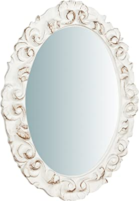 de resina 37 x 6 x 49 cm Espejo para colgar Biscottini acabado blanco envejecido