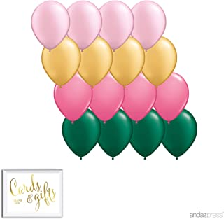 Andaz Press 11-inch Balloon Party Kit with Gold Cards & Gifts Sign, 16-Pack, Blush Pink, Gold, Rose Pink, Emerald Green, Pineapple, Hawaiian Luau, Flamingo Birthday Party Decorations