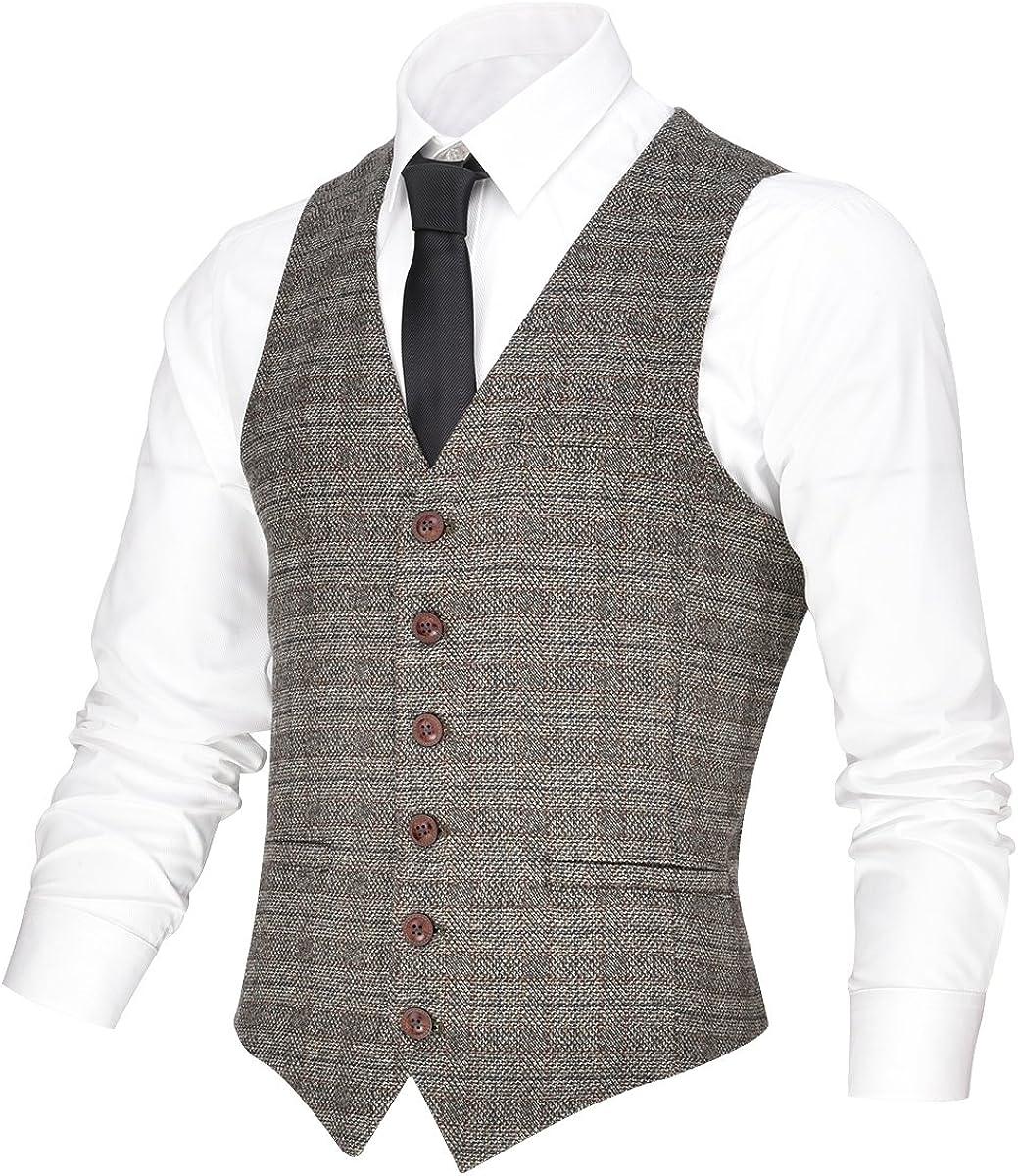 Max 47% OFF VOBOOM Men's V-Neck Suit Vest Casual Ves Button Ranking TOP15 Fit Dress 6 Slim