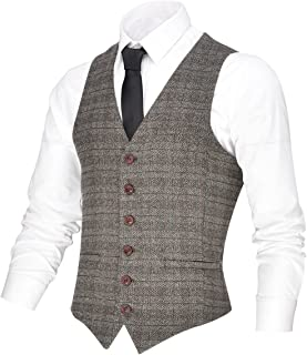 Men's V-Neck Suit Vest Casual Slim Fit Dress 6 Button Vest Waistcoat