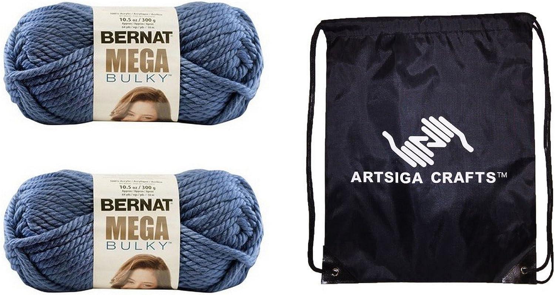 Bernat Mega Bulky Yarn (2Pack) Olympia bluee 16118888128 Bundle with 1 Artsiga Crafts Project Bag
