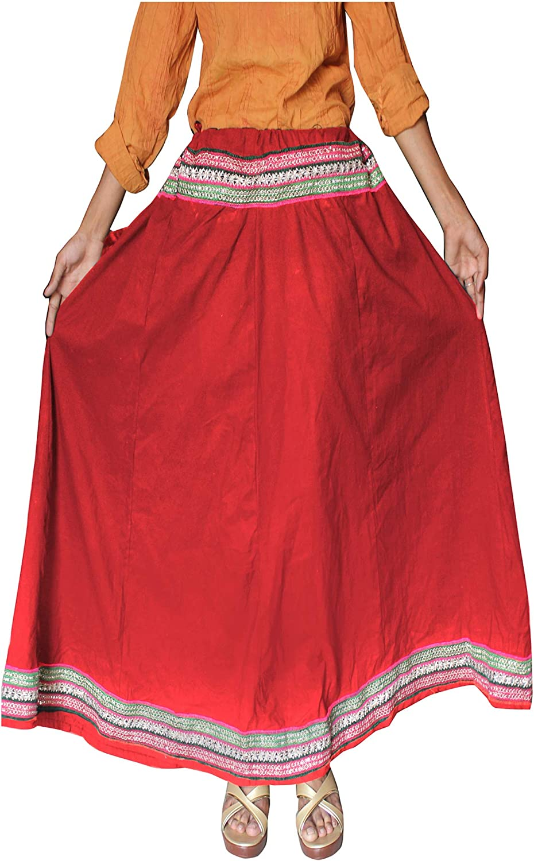 Lakkar Haveli Women's Skirt Hippie Bech Wear Ethnic Gypsy Indian Casual Baggie Solid Maroon Color