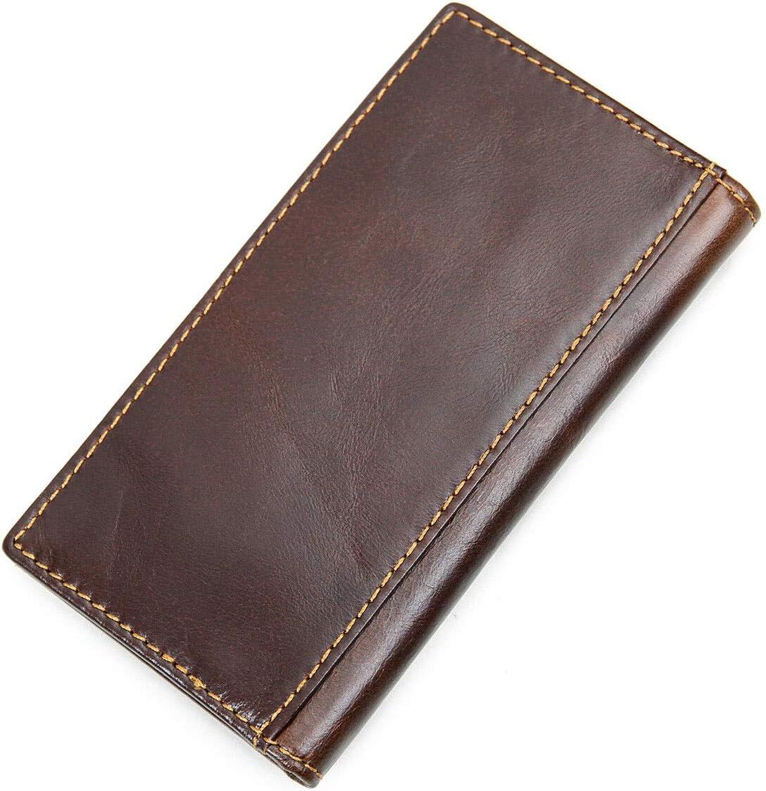 Men's Blocking Genuine Full Grain Leather Slim Clutch Wallet vet6112134