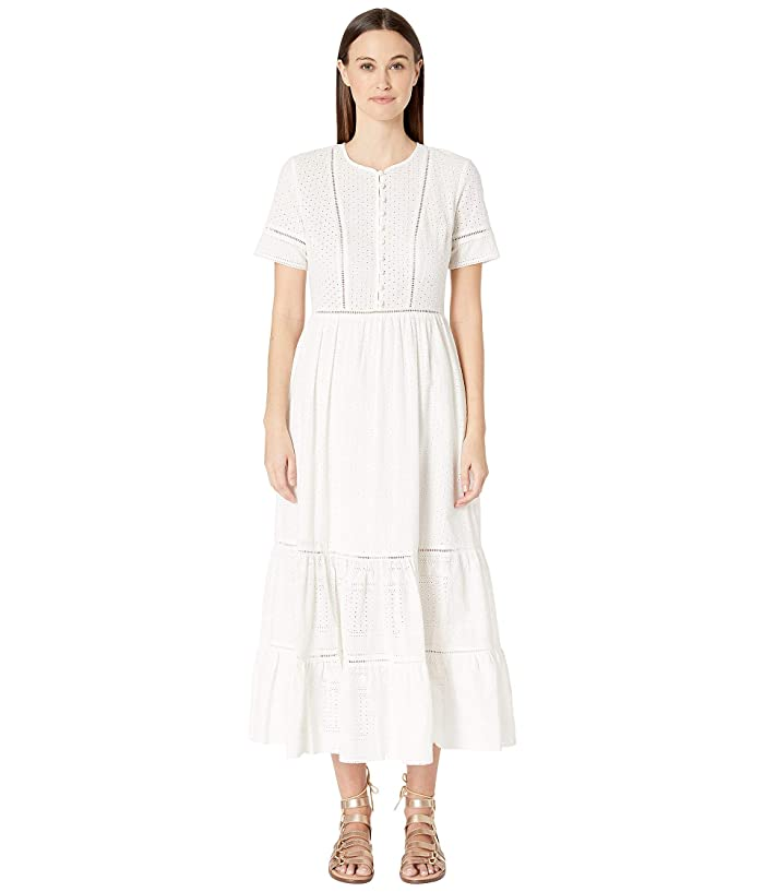 1920s Downton Abbey Dresses Jonathan Simkhai Embroidered Button Down Tee Dress White Womens Swimwear $455.00 AT vintagedancer.com