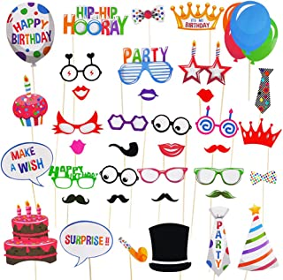 Birthday Photo Booth Props 38 Pieces Fully Assembled No-DIY Required Birthday Props with Hats, Lips, Mustaches, Crowns and more for Party Decorations