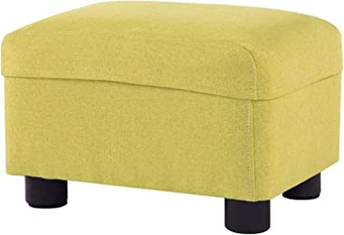 Footstool Washable Cloth Upholstered Foot Stool Ottoman Creative Square Sofa Stool Household Low Stool/Yellow/Max.150KG