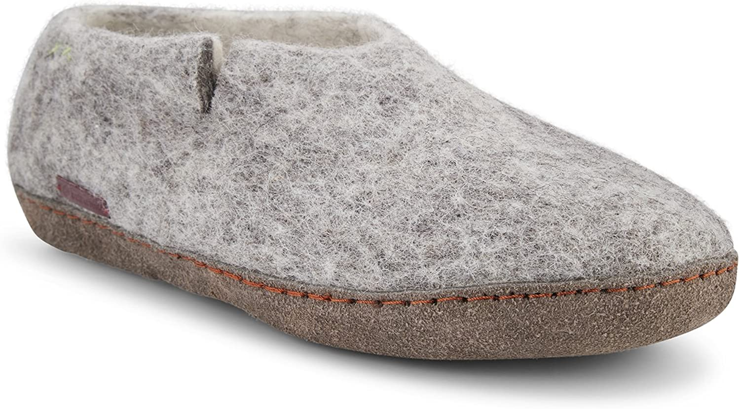 Betterfelt Hand Felted Wool Slippers for Men - Hide Sole - Size 8 - Grey - Fairtrade Classic shoes