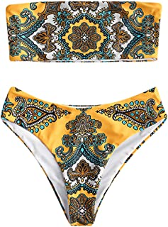 Vintage Retro Print Bandeau Bikini Set