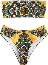 ZAFUL Retro Swimsuits for Women Vintage Print Bandeau High Waisted Bikini Set