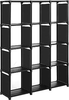 SONGMICS Étagère de Rangement, Bibliothèque à 12 Compartiments, avec boîtes de Rangement, pour Salon, Chambre, Salle de Ba...