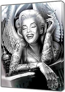 Schwarz Weiß Marilyn Monroe Engel Portrait Leinwand Malerei