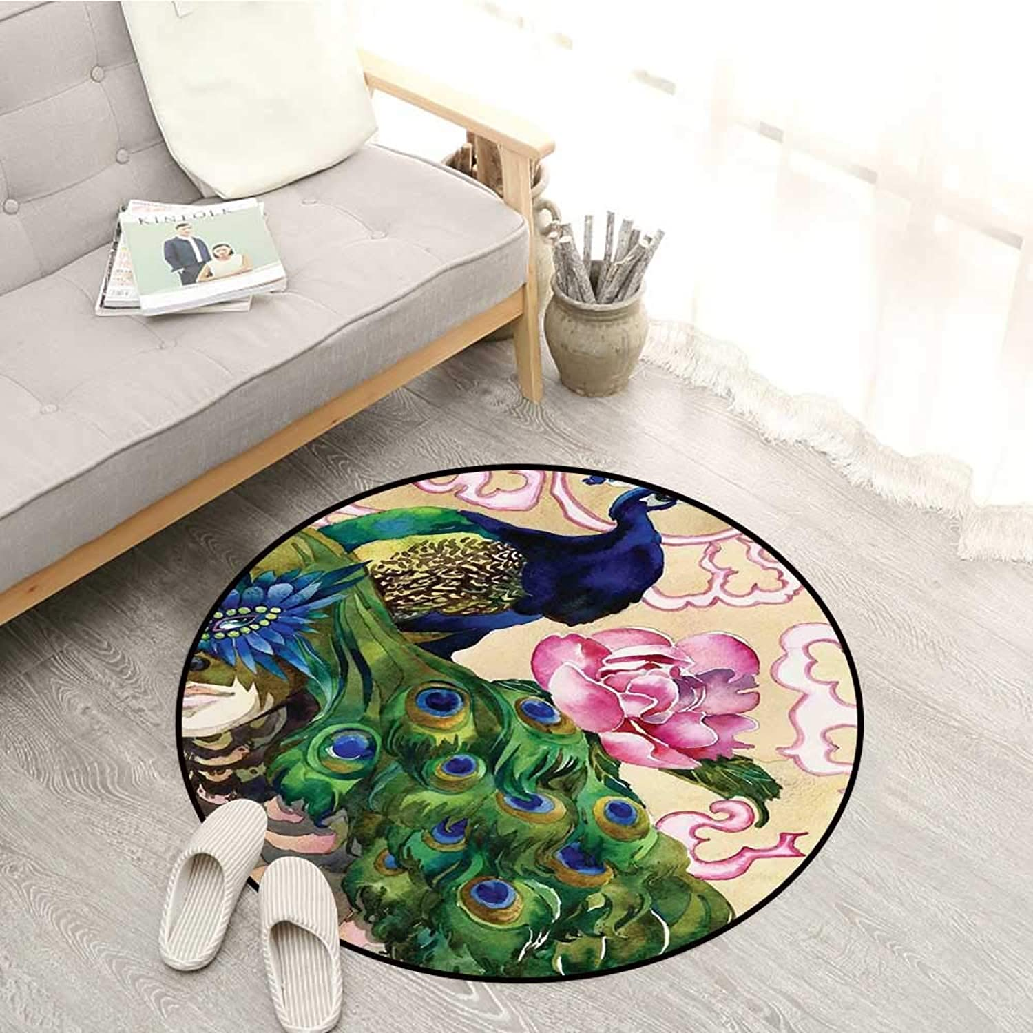 Peacock Kids Rugs Fantasy Composition with Woman and Peafowl in Watercolor Artwork Sofa Coffee Table Mat 4'11  Green Pale Pink Navy bluee