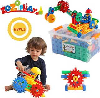 ZoZoplay STEM Toys 68 Piece Gear Building Set Learning Educational Engineering Construction Blocks, Build Excavator, Horse & Buggy and More. Best Gift Toy for 3, 4, 5, 6, 7 Year Old Boys & Girls