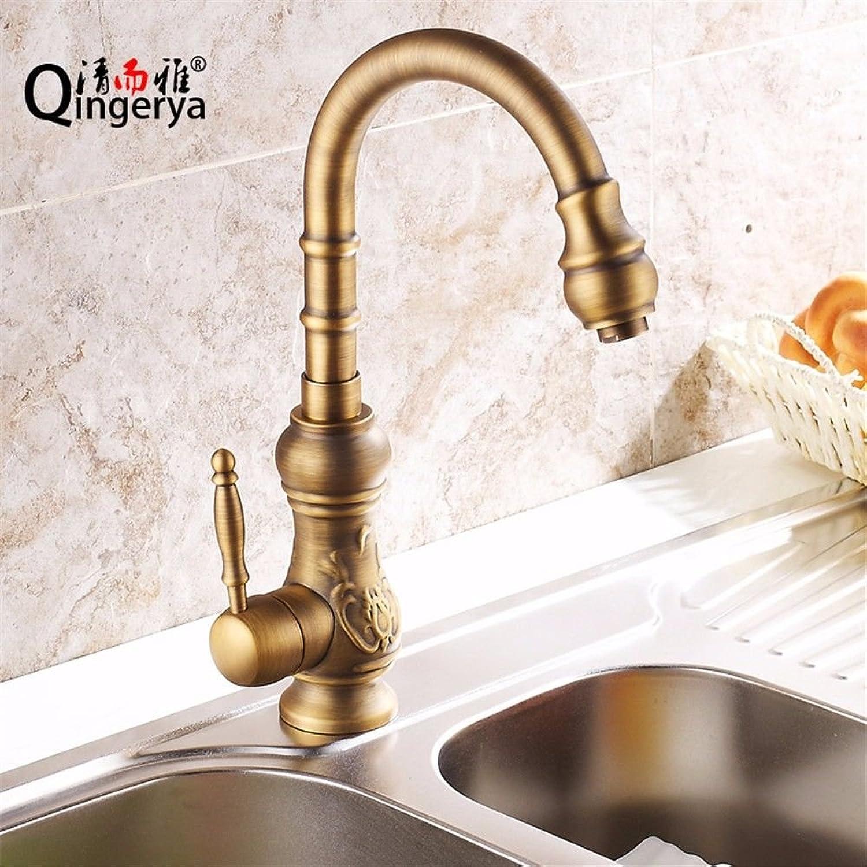 AQMMi Wasserhahn Küche Armatur Küchenarmatur Kupfer Retro Warmes Und Kaltes Wasser Schwenken Antike Spüle Mischbatterie Spültischarmatur
