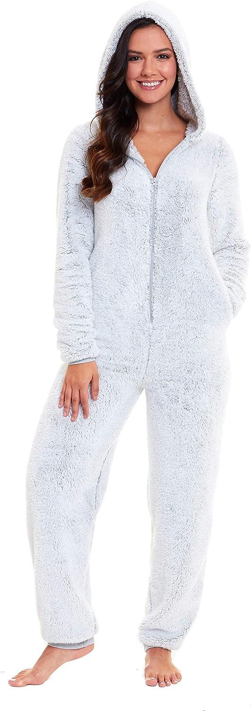 Size UK 8 up to 22 Slumber Hut/® Womens Fleece Hooded Onesie All in One Pyjamas Womens Luxury Snug Shaggy Warm Loungewear Frosted Grey