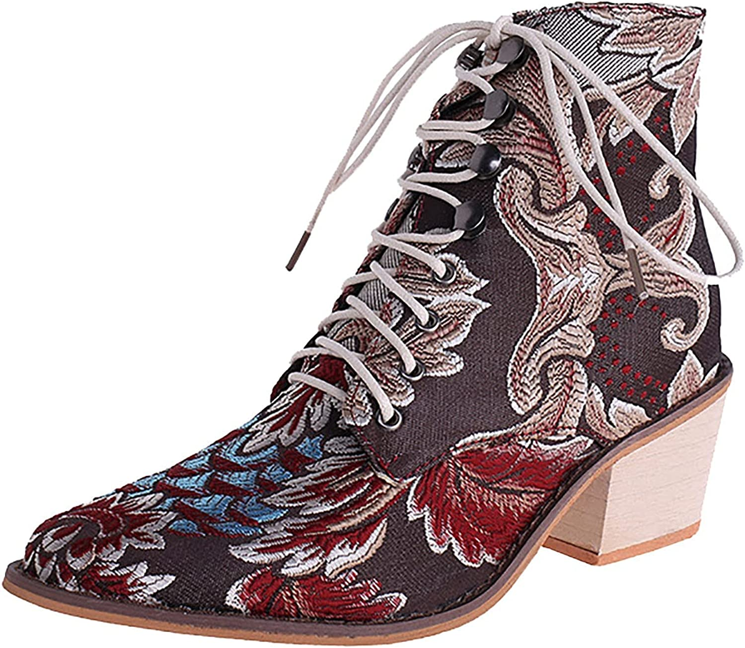 Women's Embroidered Lace-Up Ankle Boots Vintage Block Mid P 2021 autumn and winter new Heel Award