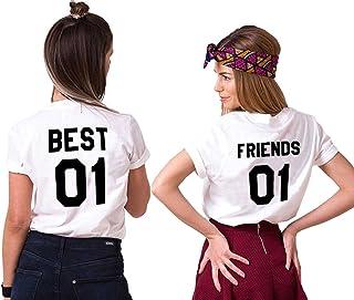 Mejores Amigas T-Shirt Best Friends Camiseta 2 Piezas Shirt 100% Algodón Verano con Manga Corta BFF para Mujer Moda