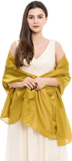 REEMONDE Womens Luxurious Soft Satin Long Chiffon Bridal Scarf Shawl Wraps Pashmina for Evening Party