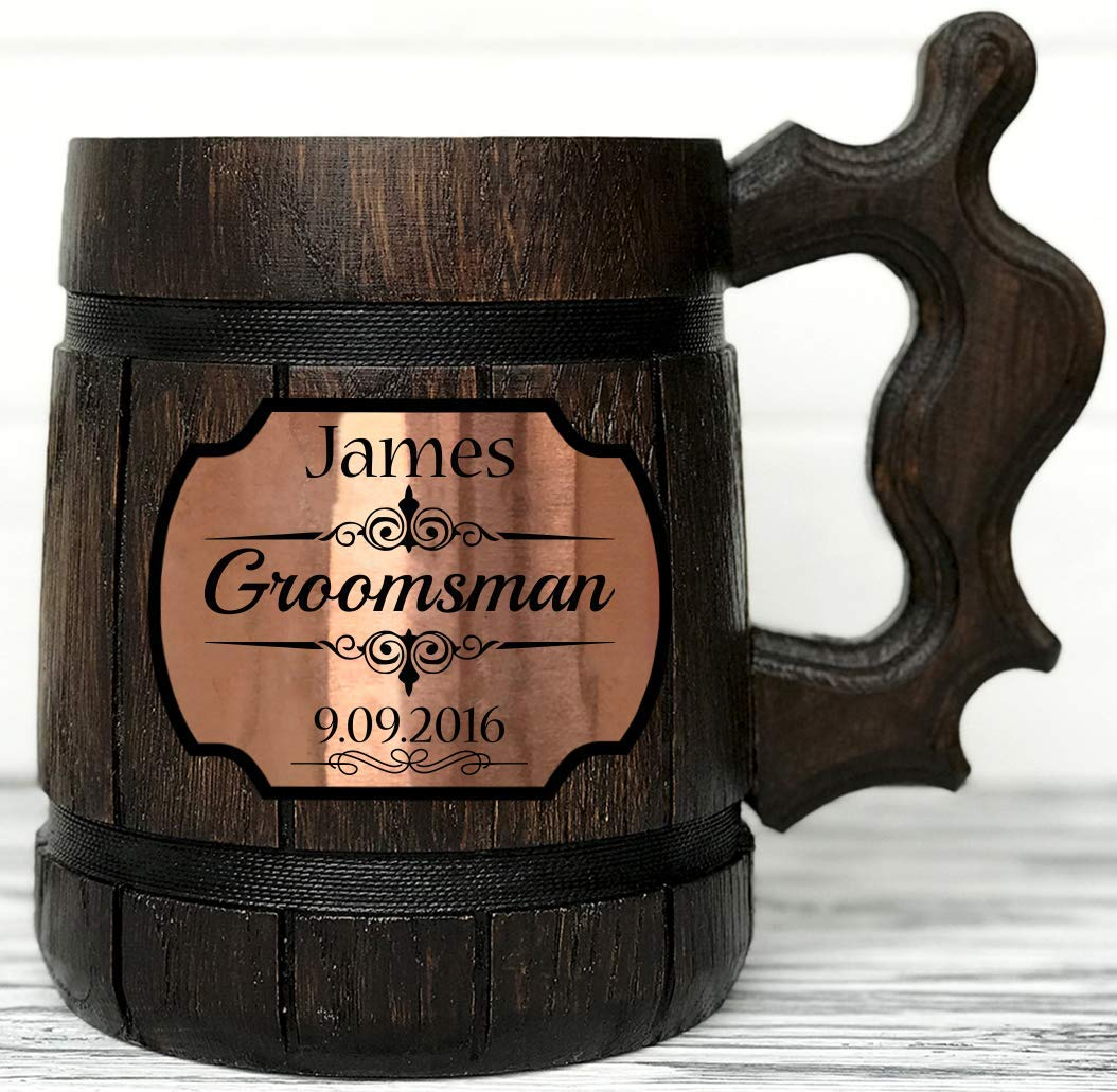 Personalized Wooden Beer Mug. Super Special SALE held Groom Groomsmen Quantity limited Gift.
