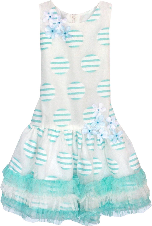 Little Girls 4-6X Aqua-Blue/Ivory Striped Dots Organza Drop Waist Social Dress