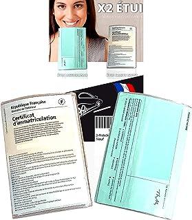 Pochette Carte Grise et Assurance x2 Transparent (FABRICATION FRANCAISE) 2x Étui Protege Carte grise et Assurance pour Doc...