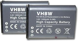 vhbw 2 x Li-Ion batería 1400mAh (3.8V) para cámara videocámara Nikon CoolPix B700 por EN-EL23