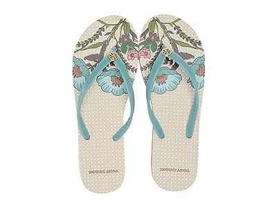 Tory Burch Thin Flip-Flop (Onda Blue/Ivory Homage To The Flower) Women