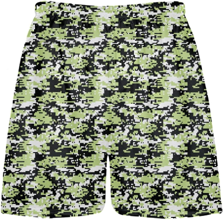 LightningWear Lime Green Digital Camouflage Lacrosse ShortsBoys Camo ShortsYouth Camo ShortsAdult Camo Shorts