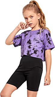 Floerns Girls 2 Piece Outfits Tie Dye T Shirt Tops and Biker Shorts Clothes Set