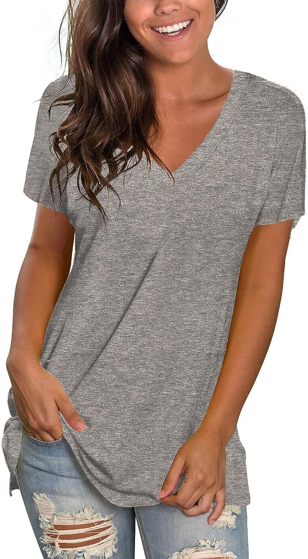 Yawarakai Womens Summer V Neck T Shirts Short Sleeve Side Slit Fashion Tops