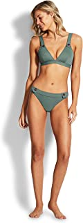 Seafolly Women's Hipster Bikini Bottom Swimsuit with Button Detail, Active