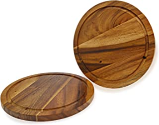 roro Acacia Wood Trivet or Charger with Groove, 10 Inch set of 2