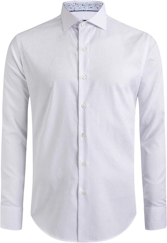 Bugatchi Men's Long Sleeve Point Collar Classic Woven