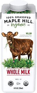 Maple Hill Shelf Stable Whole White Milk 100% Grass Fed, Organic, Non-GMO: 12 Pack 8 Fl Oz Aseptic Milk Boxes